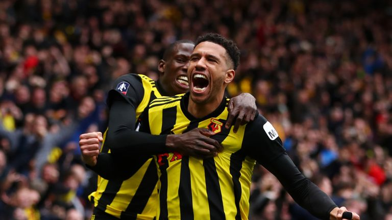 Etienne Capoue celebrates his opener for Watford against Crystal Palace in the FA Cup quarter-final