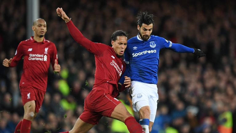 Virgil van Dijk battles with Andre Gomes in the Merseyside derby