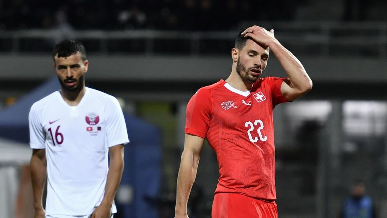 Fabian Schar suffered the clash of heads in the first half of the European Qualifier against Goergia