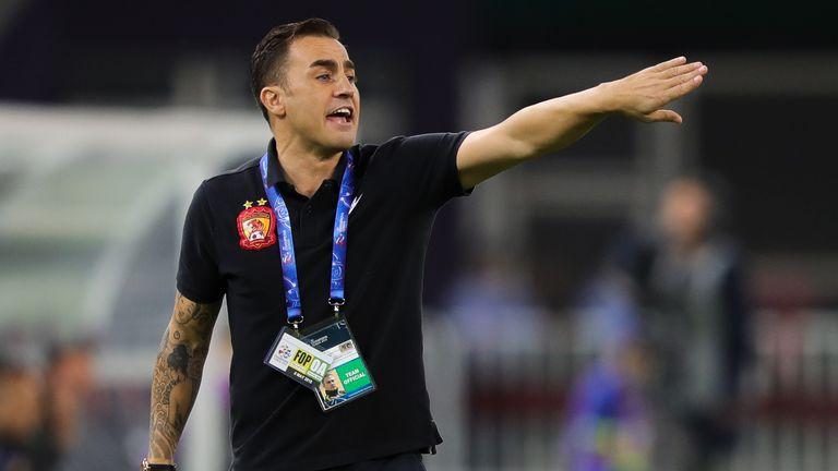 Fabio Cannavaro during the AFC Champions League Round of 16 first leg match between Tianjin Quanjian and Guangzhou Evergrande.
