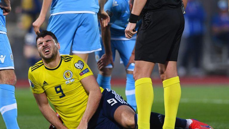 Callum Paterson suffers an injury against San Marino