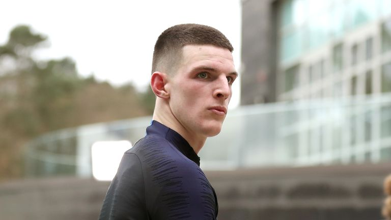 Declan Rice during an England training session at St George's Park.