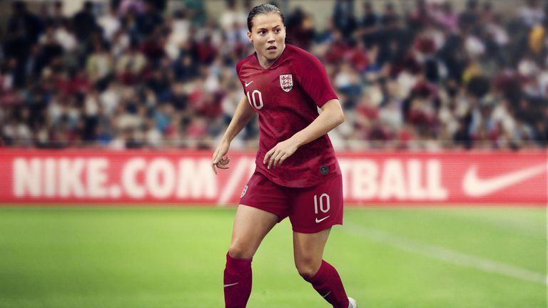 Fran Kirby in the new red England away kit for the 2019 World Cup