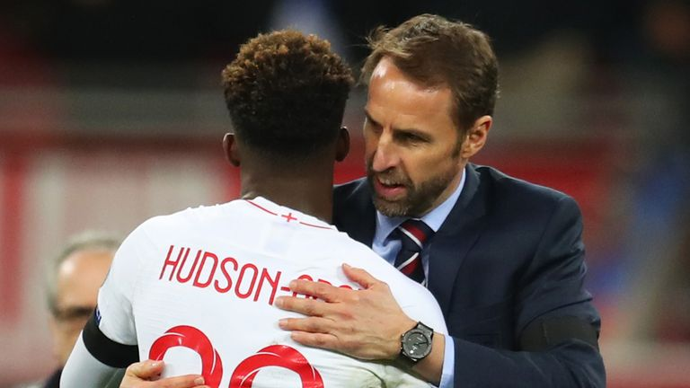 Gareth Southgate manager of England embraces debutant Callum Hudson-Odoi after the 2020 UEFA European Championships Group A qualifying match between England and Czech Republic at Wembley Stadium on March 22, 2019 in London, United Kingdom.