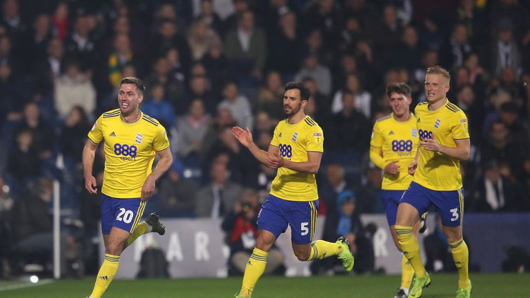 Gary Gardner of Birmingham celebrates scoring the first goal during the Sky Bet Championship match between West Bromwich Albion and Birmingham City at The Hawthorns on March 29, 2019 in West Bromwich, England