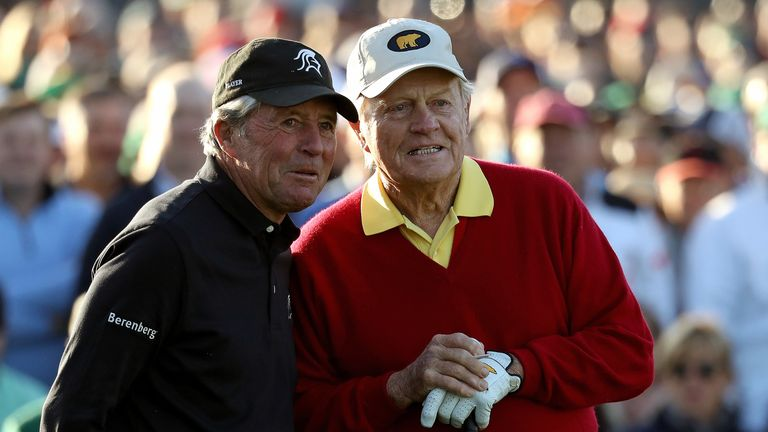 Gary Player and Jack Nicklaus were both honorary starters at Augusta