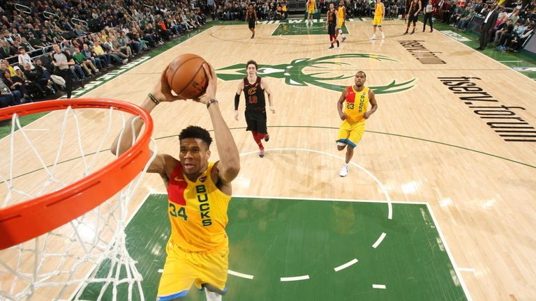 Giannis Antetokounmpo #34 of the Milwaukee Bucks dunks the ball against the Cleveland Cavaliers on March 24, 2019 at the Fiserv Forum Center in Milwaukee, Wisconsin.