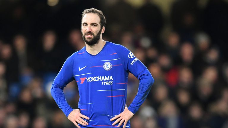 Gonzalo Higuain has three goals in seven Premier League games since joining Chelsea on loan
