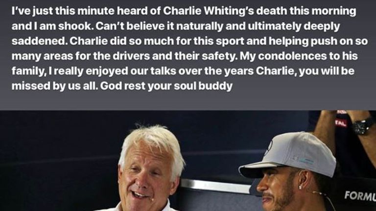 Lewis Hamilton's tribute to Charlie Whiting on Instagram