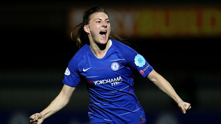 Hannah Blundell celebrates her strike for Chelsea Women against PSG in the Champions League