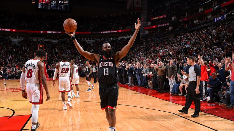 HOUSTON, TX - FEBRUARY 28 :  James Harden #13 of the Houston Rockets reacts after the game against the Miami Heat on February 28, 2019 at the Toyota Center in Houston, Texas. NOTE TO USER: User expressly acknowledges and agrees that, by downloading and or using this photograph, User is consenting to the terms and conditions of the Getty Images License Agreement. Mandatory Copyright Notice: Copyright 2019 NBAE (Photo by Bill Baptist/NBAE via Getty Images)