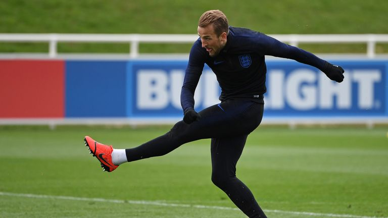 Harry Kane in England training at St George's Park