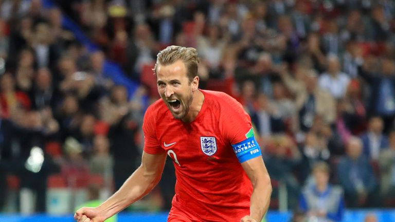 Harry Kane celebrates scoring for England in the World Cup