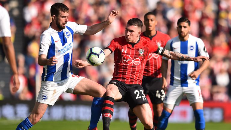 Pierre-Emile Hojbjerg in action for Southampton against Brighton