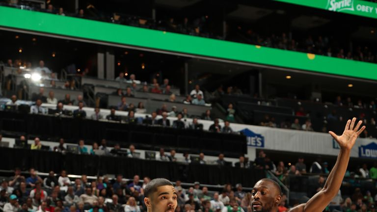 CHARLOTTE, NC - MARCH 23: Jayson Tatum #0 of the Boston Celtics handles the ball against the Charlotte Hornets on March 23, 2019 at Spectrum Center in Charlotte, North Carolina. NOTE TO USER: User expressly acknowledges and agrees that, by downloading and or using this photograph, User is consenting to the terms and conditions of the Getty Images License Agreement.  Mandatory Copyright Notice: Copyright 2019 NBAE (Photo by Kent Smith/NBAE via Getty Images)