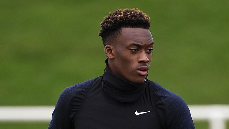 England's midfielder Callum Hudson-Odoi (L) and England's striker Callum Wilson attend a England team training session at St George's Park in Burton-on-Trent, central England on March 19, 2019, ahead of their UEFA EURO 2020 qualifying football matches against the Czech Republic and Montenegro.