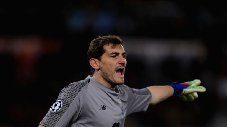 Iker Casillas in action for Porto in the Champions League