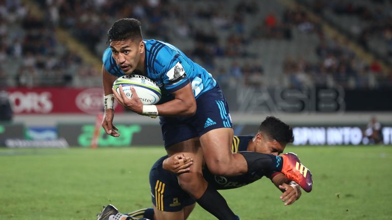 Rieko Ioane notched two tries as the Blues beat the Highlanders in Super Rugby on Friday