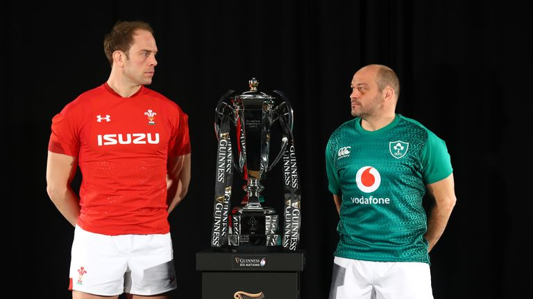 Wales skipper Alun Wyn Jones and Ireland's Rory best with the 6N trophy