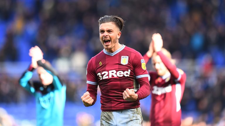 Jack Grealish celebrates at full-time during the Sky Bet Championship match between Birmingham City v Aston Villa