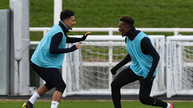 England's midfielder Jadon Sancho (L) and England's midfielder Callum Hudson-Odoi attend an England team training session at St George's Park in Burton-on-Trent, central England on March 21, 2019, ahead of their UEFA EURO 2020 qualifying football matches against the Czech Republic and Montenegro.