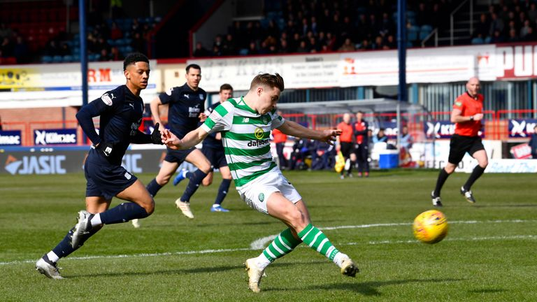 Celtic's James Forrest misses an early chance against Dundee