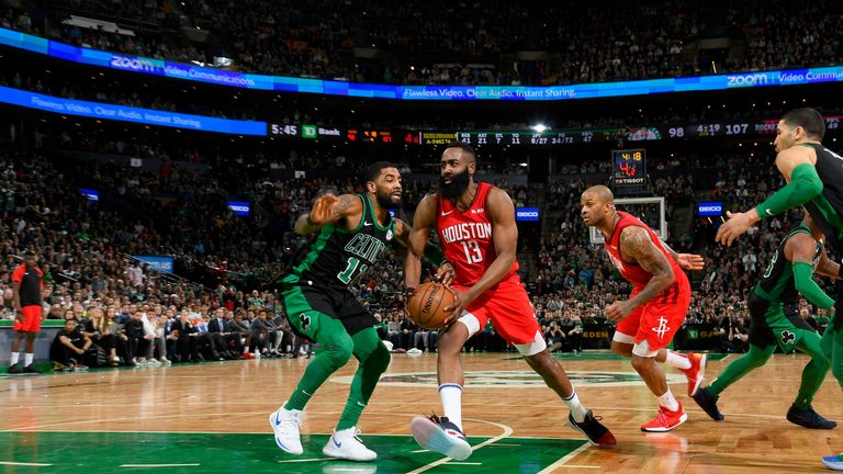 875488d227fe James Harden  13 of the Houston Rockets drives to the basket against the  Boston Celtics