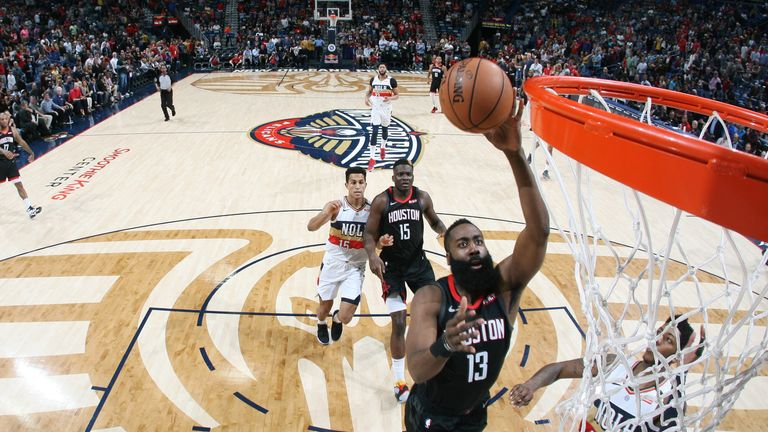 James Harden #13 of the Houston Rockets shoots the ball against the New Orleans Pelicans on March 24, 2019 at the Smoothie King Center in New Orleans, Louisiana