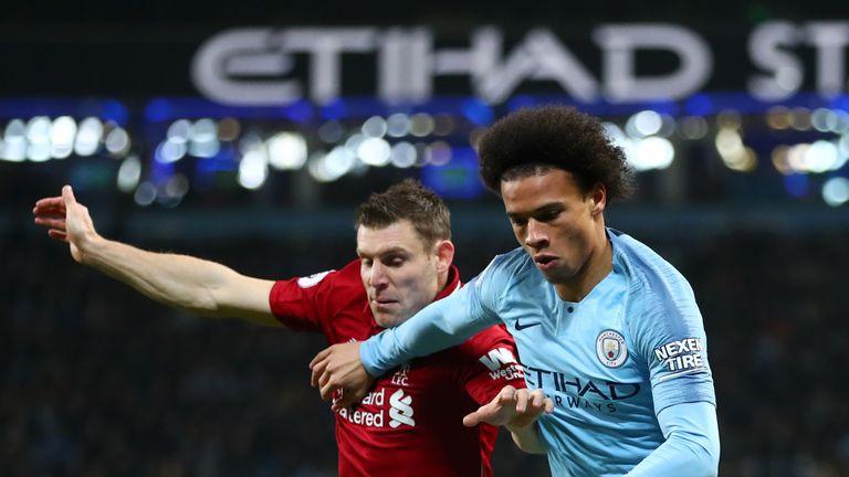 James Milner and Leroy Sane battle for possession during Manchester City vs Liverpool