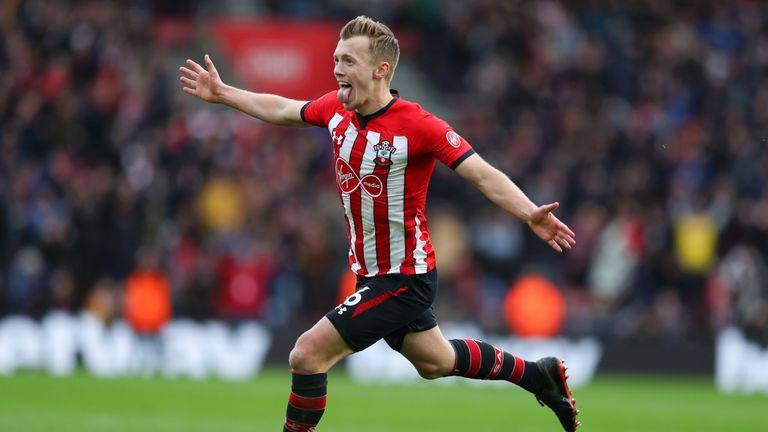 James Ward-Prowse gives Southhampton a 2-1 lead at home to Tottenham