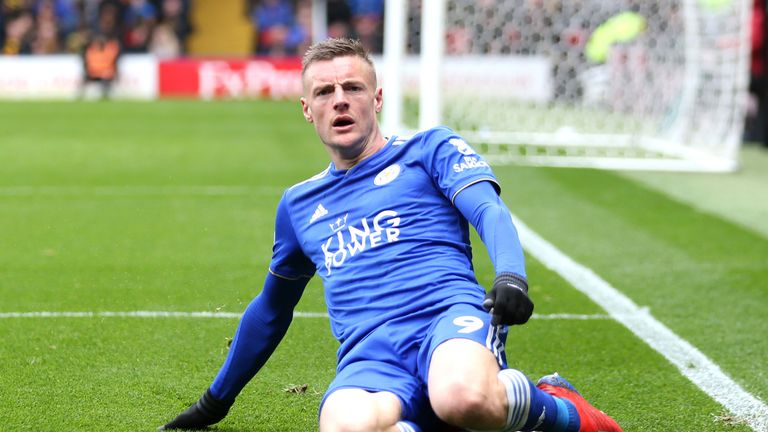 Jamie Vardy celebrates scoring for Leicester against Watford