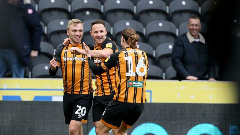 Jarrod Bowen (L) scored twice for Hull
