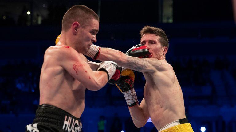 Joe Hughes and Robbie Davies Jr trade blows during super-lightweight clash
