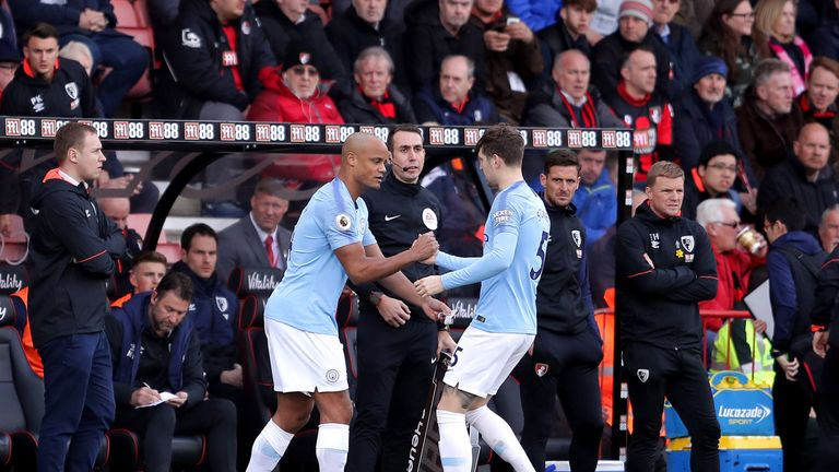 Vincent Kompany replaces John Stones during Manchester City's win over Bournemouth