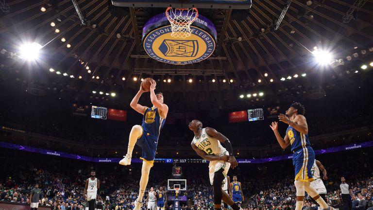 Jonas Jerebko of the Golden State Warriors shoots the ball against the Boston Celtics