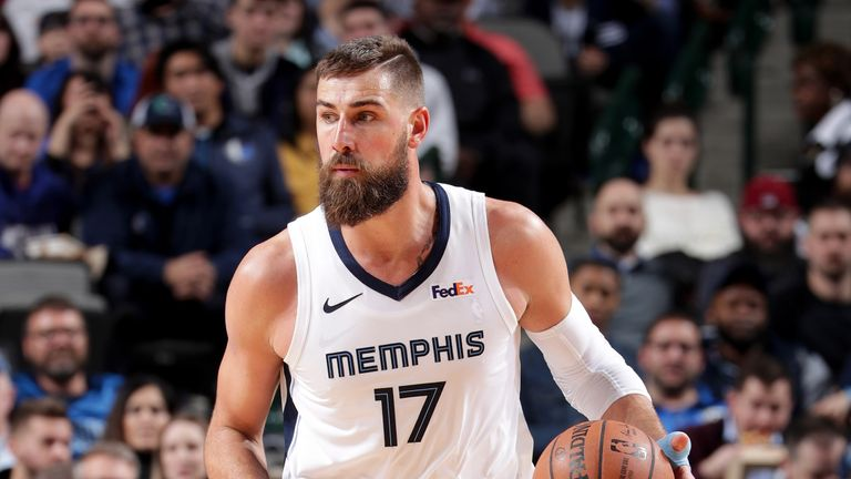 Jonas Valanciunas #17 of the Memphis Grizzlies handles the ball during the game against the Dallas Mavericks on March 2, 2019 at the American Airlines Center in Dallas, Texas.