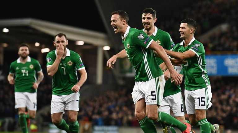 Jonny Evans of Northern Ireland celebrates after scoring during the 2020 UEFA European Championships group C qualifying match between Northern Ireland and Belarus at Windsor Park on March 24, 2019 in Belfast, United Kingdom