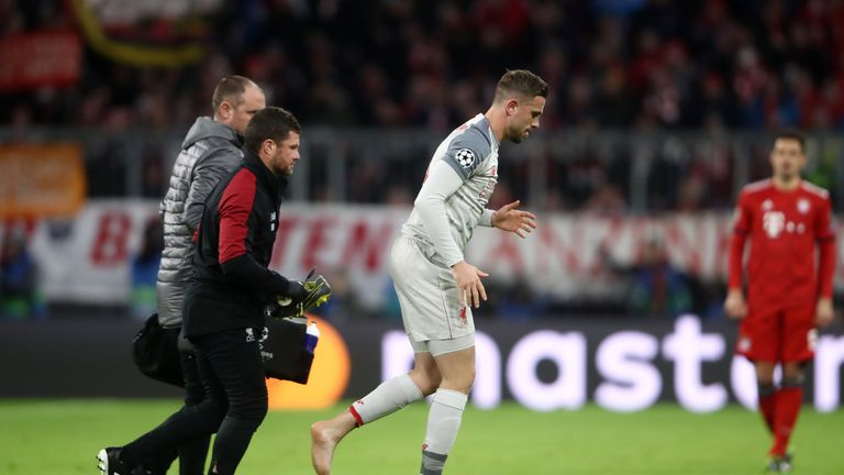 Jordan Henderson hobbled off in the 13th minute at the Allianz Arena