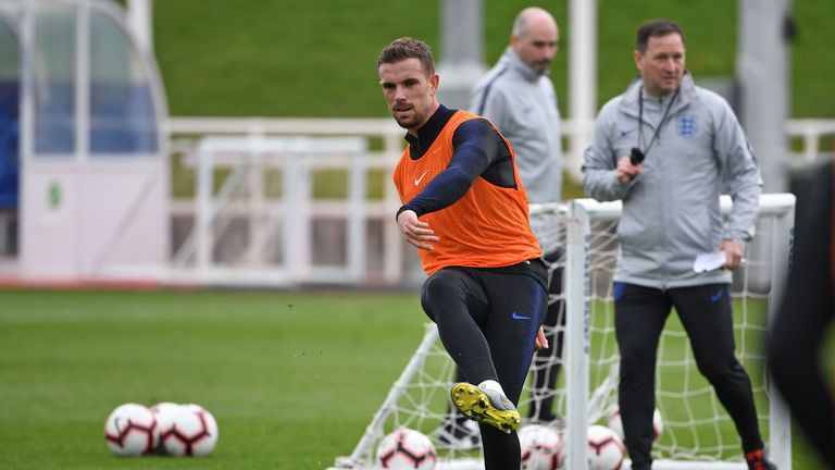 Jordan Henderson training with England at St George's Park