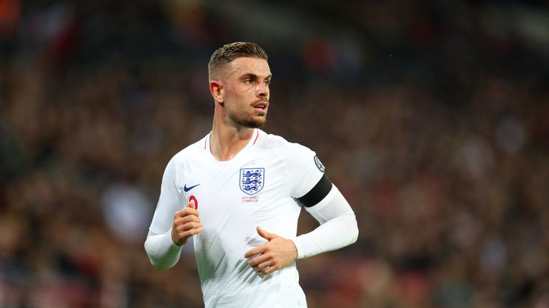 Jordan Henderson in action for England against the Czech Republic at Wembley