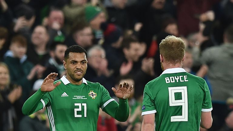 Josh Magennis celebrates his winning goal with Liam Boyce