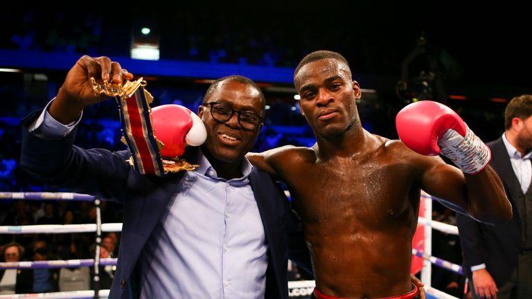 Joshua Buatsi celebrates after winning the British light heavyweight title