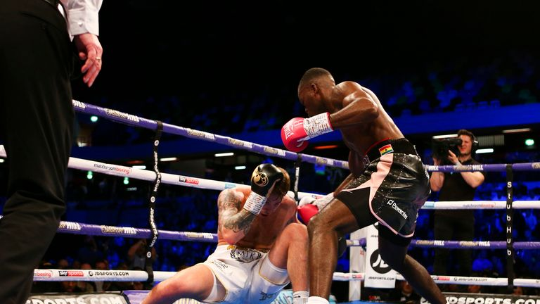 Joshua Buatsi drops Liam Conroy in the third of their light heavyweight bout