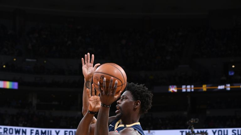 Jrue Holiday #11 of the New Orleans Pelicans shoots the ball against the Denver Nuggets on March 2, 2019 at the Pepsi Center in Denver, Colorado.