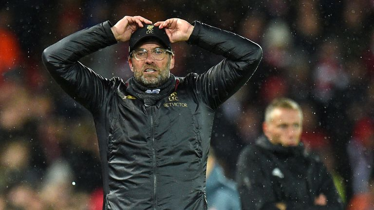Jurgen Klopp reacts to a missed chance against Bayern Munich in the first leg