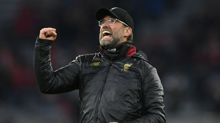 Jurgen Klopp celebrates Liverpool's win over Bayern Munich