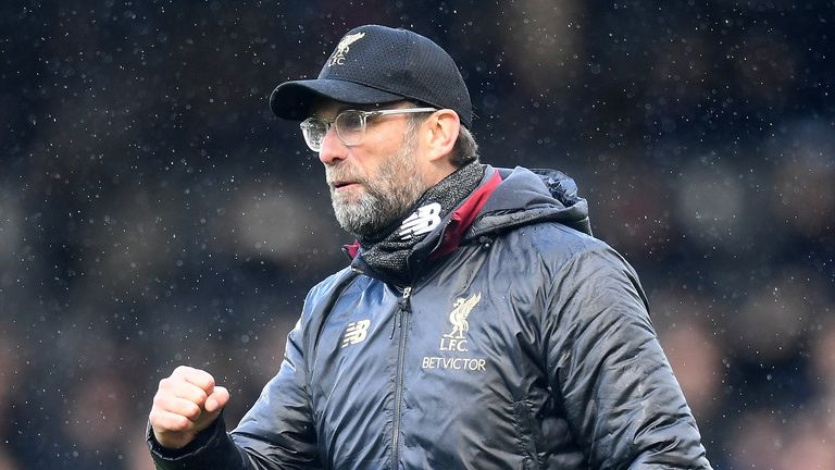 Jurgen Klopp, Manager of Liverpool celebrates at the full time whistle after the Premier League match between Fulham FC and Liverpool FC at Craven Cottage on March 17, 2019 in London, United Kingdom.