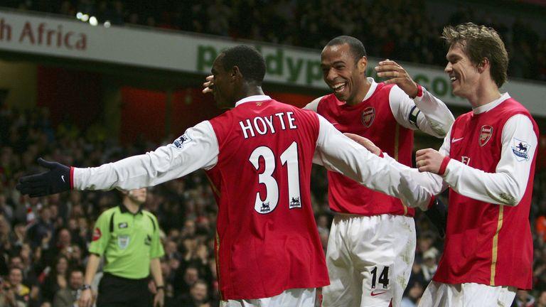 Hoyte celebrates scoring for Arsenal against Charlton in 2007