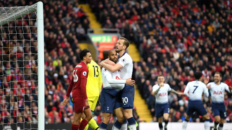 Lucas Moura converted from close range to equalise for Tottenham