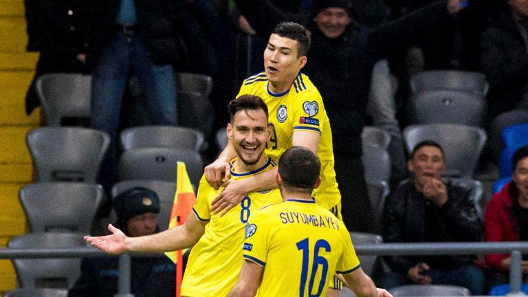 Kazakhstan celebrate a goal against Scotland in their European Qualifier